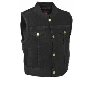 Kids Denim MC Style Snap Front Vest