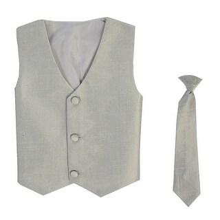 Baby Boys Silver Poly Silk Vest Necktie Special Occasion Set 3-24M - 3-12m