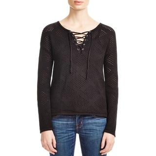 Design History Womens Pullover Sweater Lace Up Open Stitch