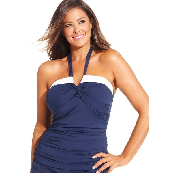 ae222dfc97a28 Anne Cole Womens Plus Size Halter Bandeau Tankini Top 20W Navy White  Swimsuit