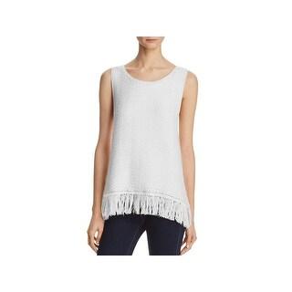 Joie Womens Nariko Pullover Sweater Sleeveless Fringe Trim