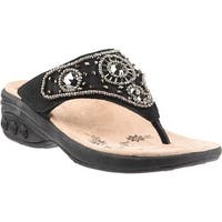 Therafit Women's Hazel Thong Sandal Black Suede
