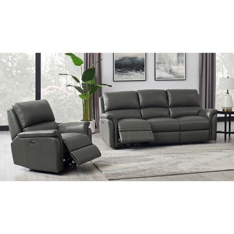 Hydeline Erindale Leather Power Reclining Sofa Set, Sofa and Chair with USB-Ports