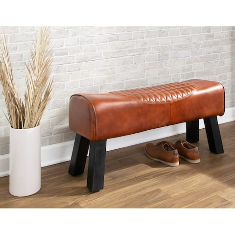 Carbon Loft Zavala Leather and Wood Urban Upholstered Bench
