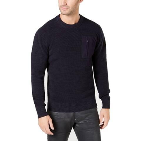 G-Star Raw Mens Sweater Navy Blue Size 2XL Crewneck Textured Rib-Knit