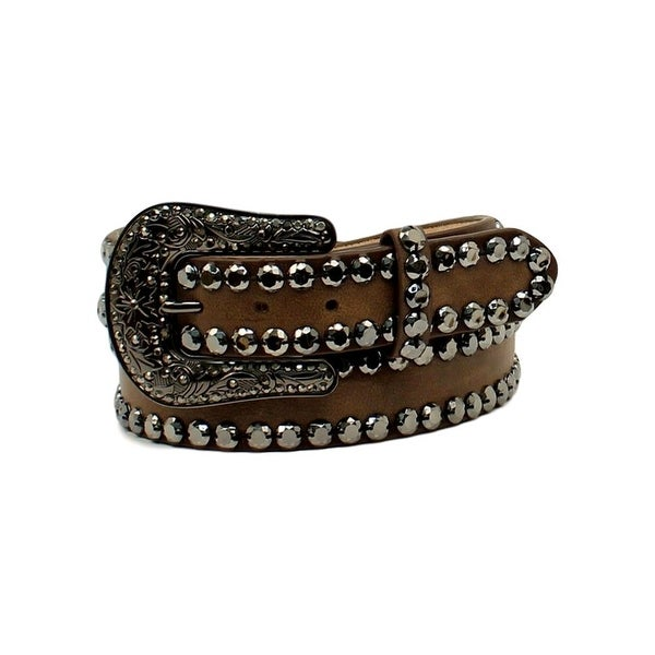 Blazin Roxx Western Belt Womens Rhinestone Edges Floral Brown