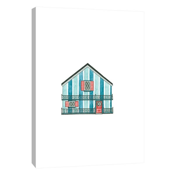 """PTM Images 9-105583 PTM Canvas Collection 10"""" x 8"""" - """"Little Striped Houses Cyan"""" Giclee Houses Art Print on Canvas"""
