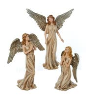 Pack of 3 Champagne and Silver Colored Angel Christmas Figurines 12.75""