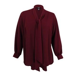 Alfani Women's Plus Size Tie-Neck Blouse - marooned