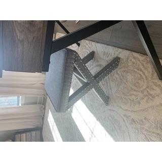 Parton Linen Fabric X-Base Nailhead 17 Inch Ottoman Bench by iNSPIRE Q Bold