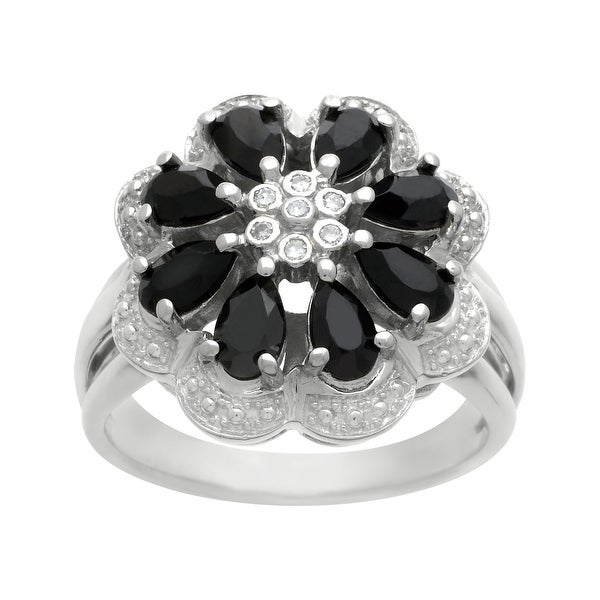 7/8 ct Onyx Flower Cocktail Ring with Diamonds in Sterling Silver
