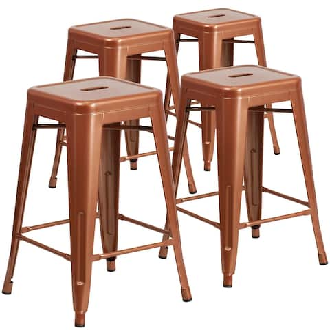 """4PK Commercial Grade 24""""H Backless Metal Indoor-Outdoor Counter Stool"""