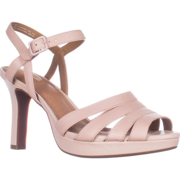 CLARKS Mayra Poppy Gold Metallic Sandals, Dusty Pink