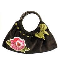 Maggi B Soft Touch Velour Black & Rose Appliqué Clutch Bag