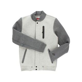 Nike Mens Zip Up Varsity Jacket Grey - grey/dark grey/black
