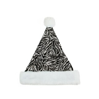 "14"" Diva Safari Black and Silver Christmas Santa Hat with White Faux Fur Brim - Medium Adult Size"