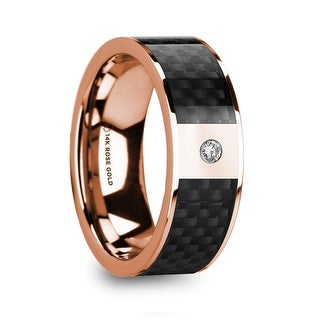 HERMES Black Carbon Fiber Inlaid 14k Rose Gold Polished Ring With Diamond Accent 8mm