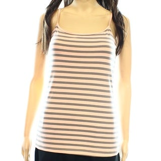 Halogen NEW Peach Pink Gray XS Junior Striped Sleeveless Tank Cami Top DEAL