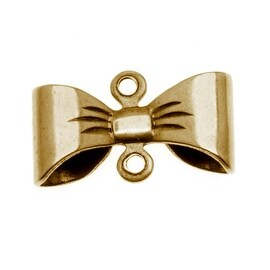 Antiqued Brass Bow Connector Stamping 15x8.5mm (4)