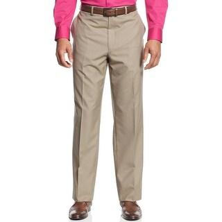 Sean John Dress Pants 36 Waist Tan Mini Check Flat Front and Unhemmed