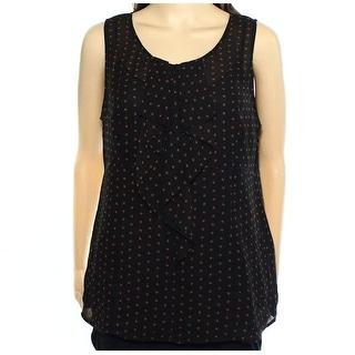 Halogen NEW Black Women's Size Medium M Dot Print Ruffle Tank Top