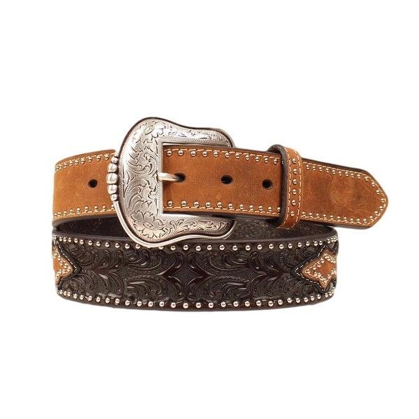 Nocona Western Belt Mens Leather Tooled Overlay Brown Black