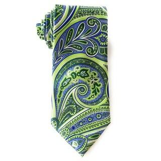 Geoffrey Beene NEW Green Blue Swirly Paisley Soft Silk One Size Neck Tie