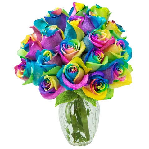 KaBloom: Bouquet of 18 Fresh Cut Rainbow Roses (Farm-Fresh, Long-Stem) with Vase