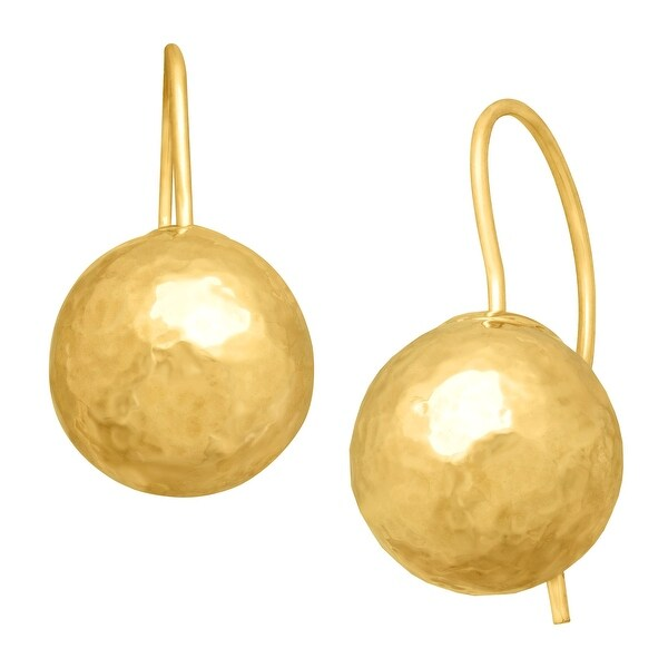 Just Gold Hammered Ball Drop Earrings in 14K Gold - YELLOW