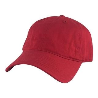 205 Series Unstructured Cotton Curve Visor Adjustable Strapback Dad Cap Hat - Red