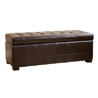 Caroline Dark Brown Full Leather Storage Bench Ottoman with Dimples