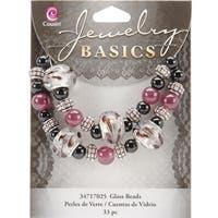 Jewelry Basics Glass Bead Mix 33/Pkg-Black & Purple Large Hole
