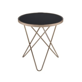 End Table In Black Glass & Champagne - Glass, Metal Tube Black Glass & Champagne