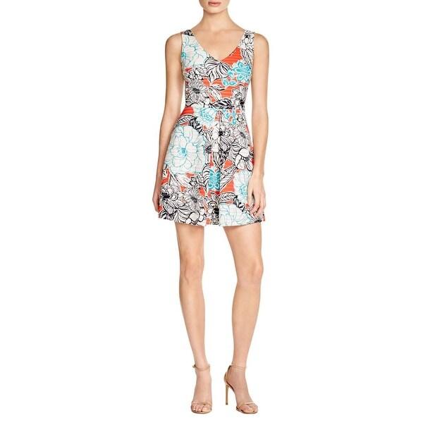 Aqua Womens Sundress Textured Floral Print