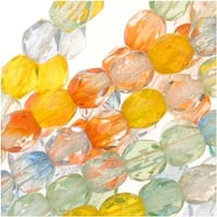 Czech Fire Polished Glass Beads 4mm Round Bright Rainbow Mix (50)