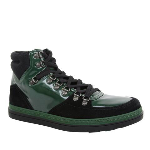 Gucci Men's Contrast Combo High top Dark Green Suede Leather Sneaker 368496 1077