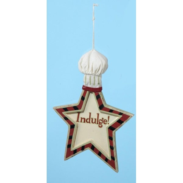 """Mom's Kitchen """"Indulge"""" Star Shape Chef Hat Christmas Ornament 6"""" - RED"""