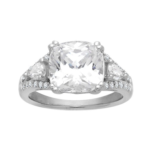 Ring with 9 5/8 ct Cubic Zirconia in Sterling Silver - White
