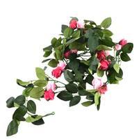 Home Wedding Party Festival Artificial Flower Leaf Fuchsia Green