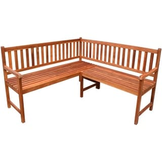 "vidaXL Acacia Wood Garden Corner Bench Oil Finished Outdoor Park Deck Porch - 59"" x 59"" x 35"""