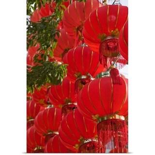 Poster Print entitled Red Lanterns on Boai Lu, Dali, Yunnan Province, China