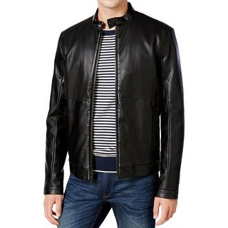 Calvin Klein Mens Motorcycle Jacket Faux Leather Perforated