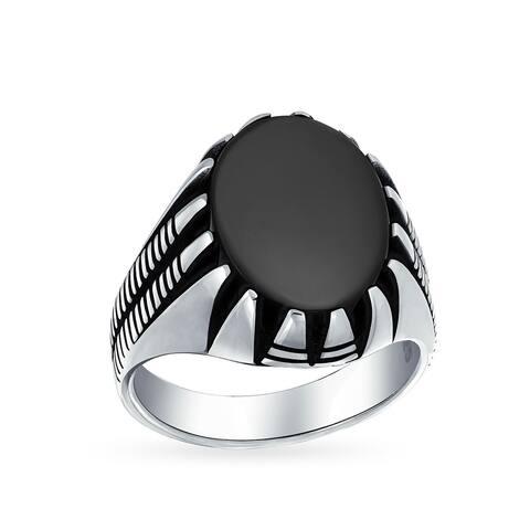 Big Mens Retro Biker Gemstone Statement Oval Signet Claw Ring Silver