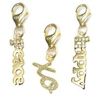 Julieta Jewelry XO, Peace, Happy 14k Gold Over Sterling Silver Clip-On Charm Set