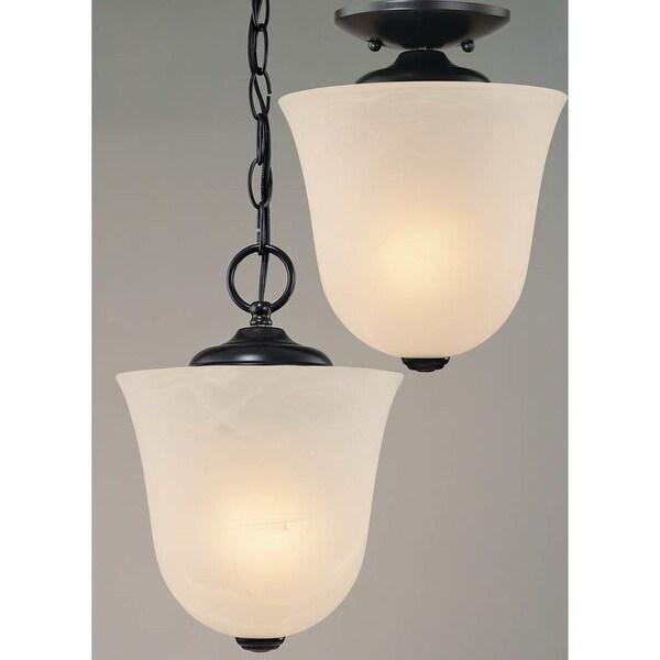 """Volume Lighting V5070 Bernice 1-Light Foyer 10.5"""" Height Pendant with White Alabaster Glass Bell Shade - n/a"""