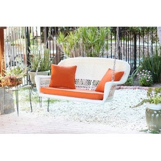 """51.5"""" Hand Woven White Resin Wicker Outdoor Porch Swing with Orange Cushion"""