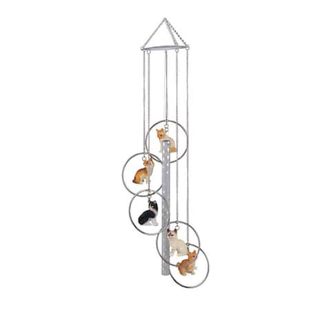 """Q-Max 24"""" L 5-Ring Polyresin Cat Wind Chime Hanging Decoration"""