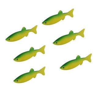 Unique Bargains 6 Pcs Emulational Lifelike Shaped Silicone Green Fishing Lure Fish Bait 0.8oz