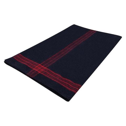 Military Wool Blanket Navy Blue/Red