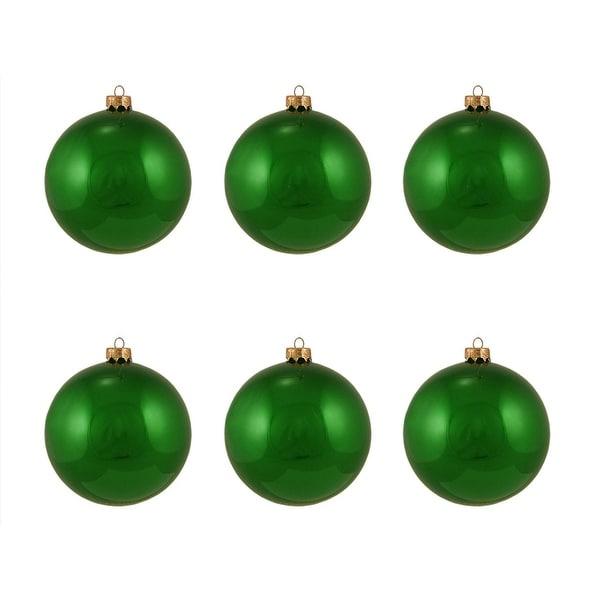 "6ct Pearl Xmas Green Glass Ball Christmas Ornaments 4"" (100mm)"